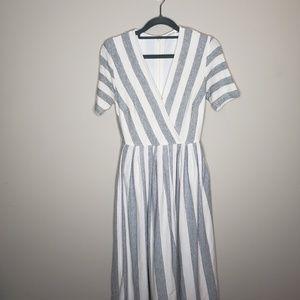 eShakti Striped Knit Midi Dress XS 0 Lined